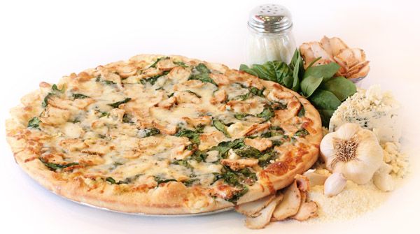 Chicken Florentine Pizza with Traditional Crust